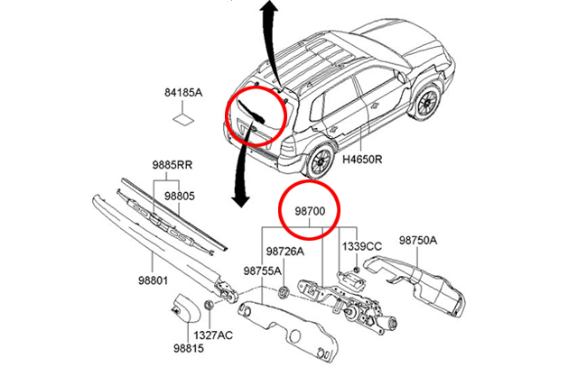 Hyundai 20042009 Tucson Rear Windshield Wiper Motor Genuine 98700